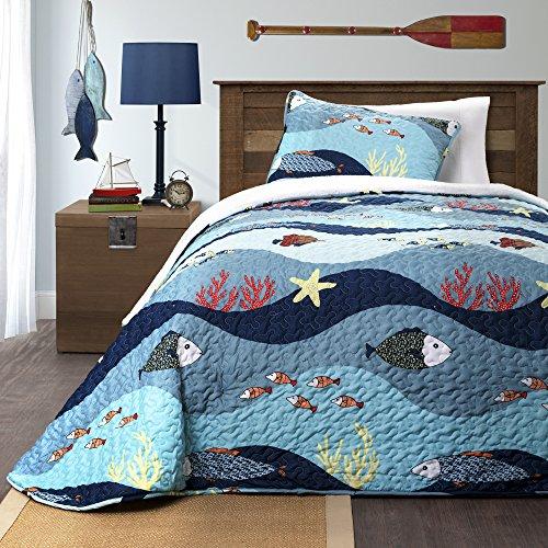 Lush Decor 3 Piece Sea Life Sherpa Quilt/Sleeping Bag Set, Twin, Blue