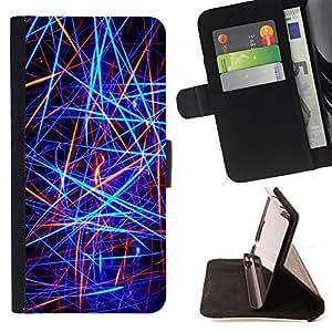 For Sony Xperia Z2 D6502,S-type Líneas de neón abstractas- Dibujo PU billetera de cuero Funda Case Caso de la piel de la bolsa protectora
