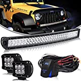 AUSI DOT Approved 32 Inch 180W Curved Led Light Bar with 3 Lead Rocker Switch Wiring Harness Kit For Offroad Toyota Tacoma 2WD/4WD POLARIS RZR XP 1000 RZR S 900 ATV UTV Ford F250 F150 12V-24V