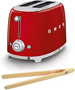 Smeg TSF01RDUS 50's Retro Style Toaster Bundle with Norpro Bamboo Tongs - (Red) 2 Slice