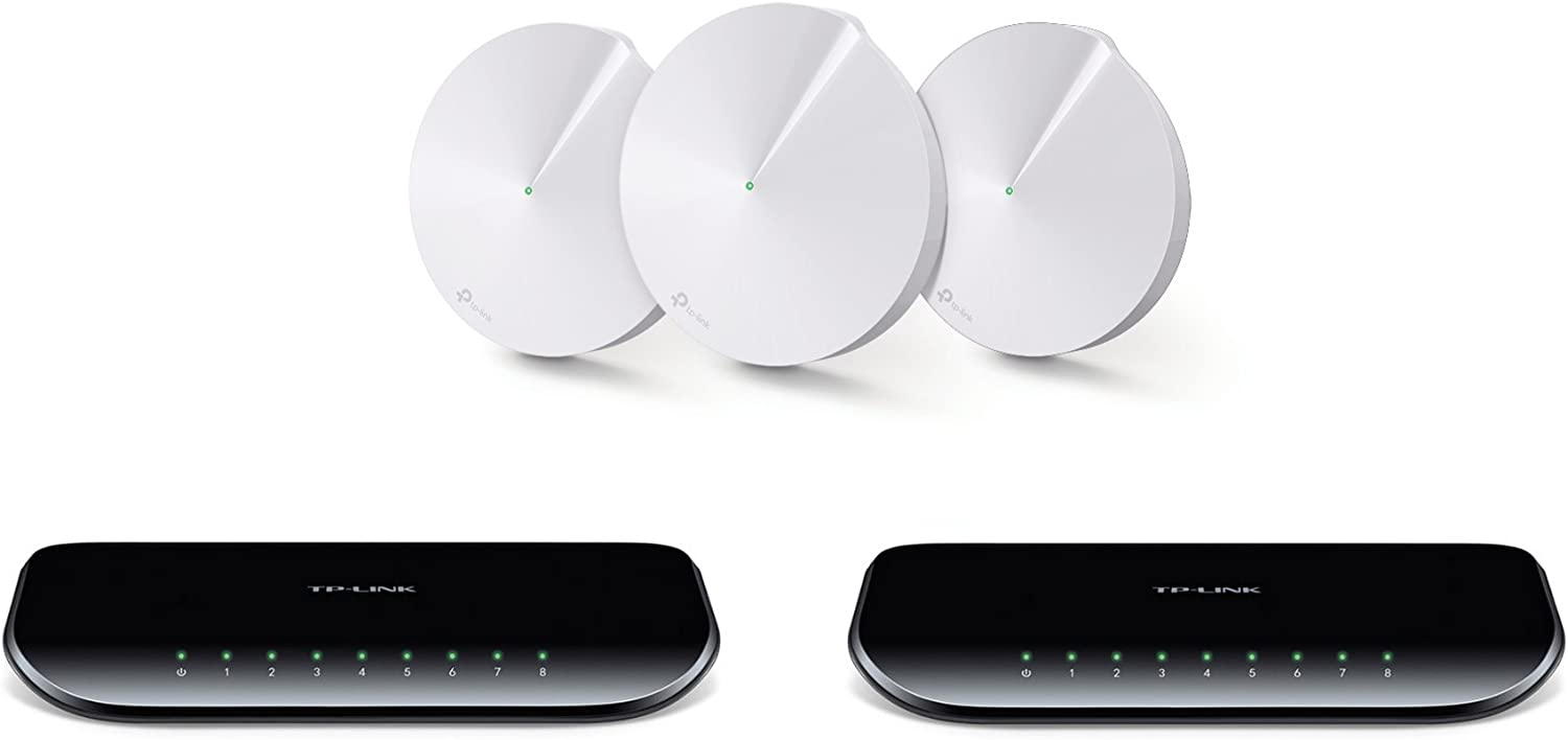 TP-Link Deco M5 Whole Home Mesh WiFi System 3-Pack and 2 TP-Link 8-Port Gigabit Desktop Switches (TL-SG1008D)