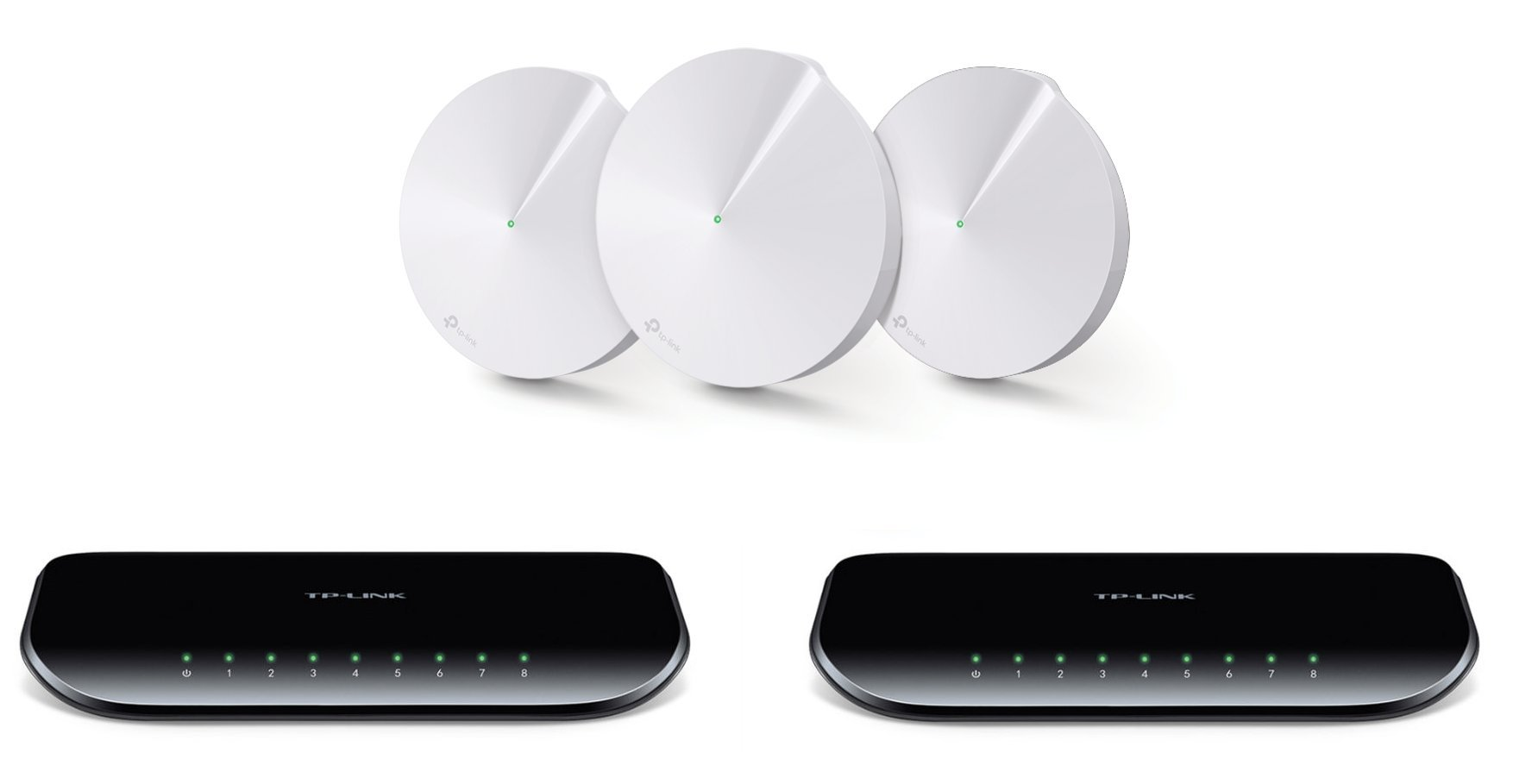 TP-Link Deco M5 Whole Home Mesh WiFi System 3-Pack and 2 TP-Link 8-Port Gigabit Desktop Switches (TL-SG1008D) by