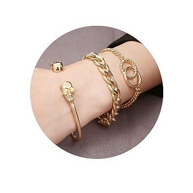 d1618a2f21b Amazon.com: Wisslotus 3 Pcs Charm Bracelet Set Adjustable Cuff Bracelet  Open Wire Bangle Stackable Curb Link Chain Friendship Bracelet Jewelry for  Women ...