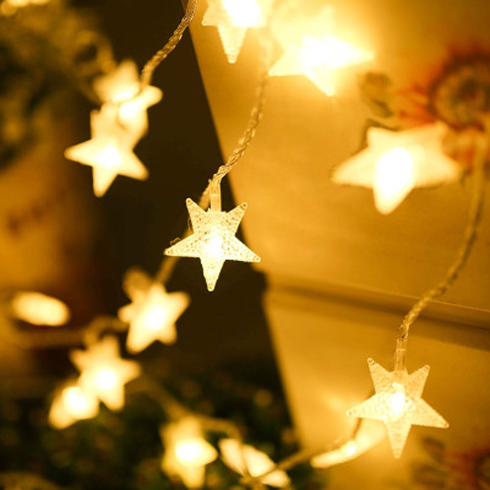 BJYHIYH Battery Powered String Lights 16ft 40 LED Star Fairy Lights Bedroom Christmas Wedding Party Decoration(Warm White) by BJYHIYH (Image #1)