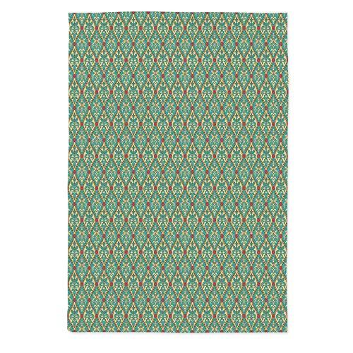 Turquoise Dust Proof Tablecloth,Vintage Oval Shapes Floral Leaves Arrangement Flourishing Nature Illustration Decorative for Kitchen Dinning Tabletop Decoration,70.1''W X 84''L