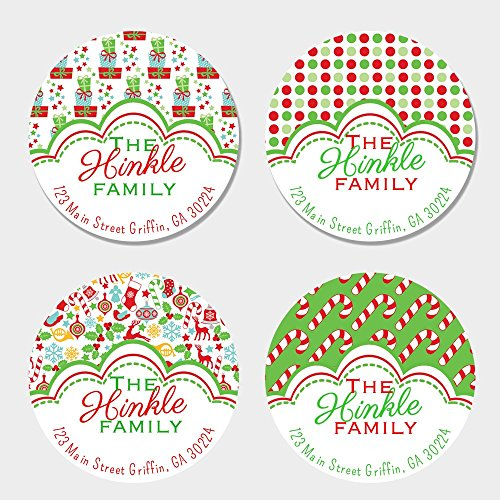 40 Round Personalized Fun Christmas Return Address Labels - Christmas Themed Envelope Seals ()