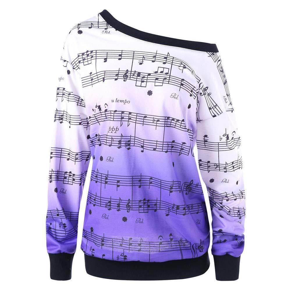 NPRADLA 2018 Herbst Damen Sweatshirt Schrägkragen 3D Musical Notes Druck Jumper Pullover Tops Bluse