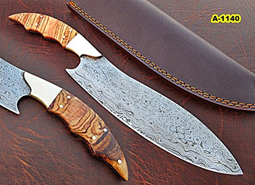 CFZ – 1140, Custom Handmade Damascus Steel 12.40 Inches Chef Knife – Beautiful Burrel Wood Handle with Brass Bolster