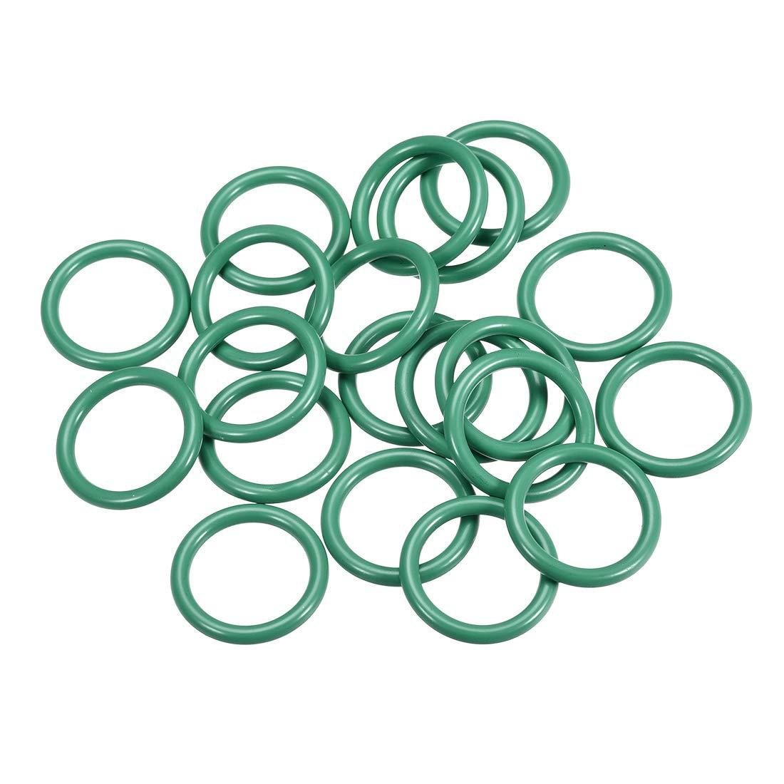 2.4mm Width uxcell Fluorine Rubber O Rings 27mm OD Seal Gasket Green 20Pcs 22.2mm Inner Diameter