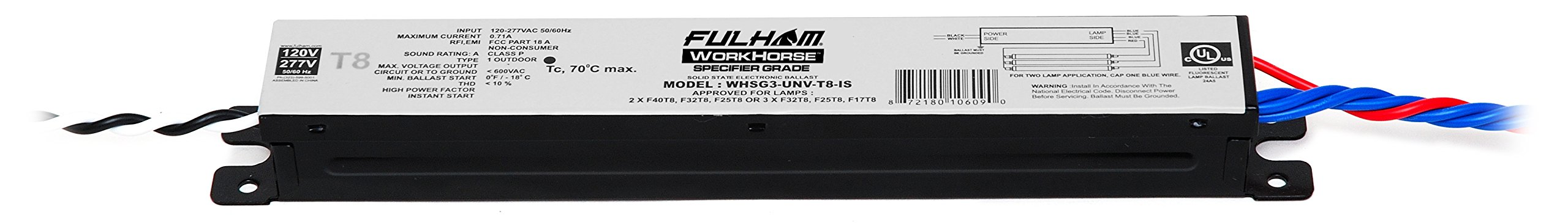 Fulham Specification Grade Linear T8 Ballast, WHSG3-UNV-T8-IS