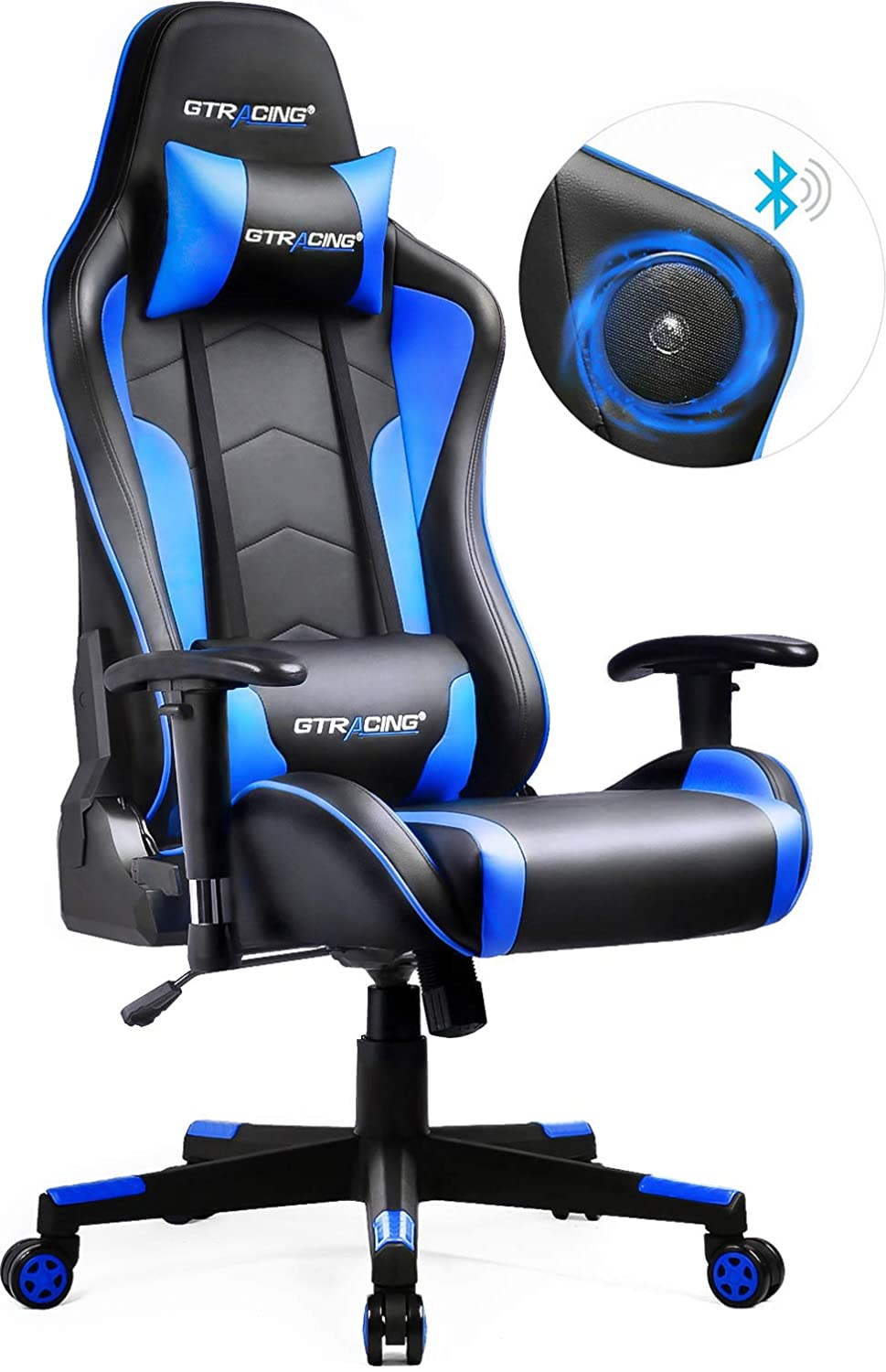GTRACING Gaming Chair with Bluetooth Speakers Music Video Game Chair Audio Connect Mobile PC PS4 Patented Design Heavy Duty Ergonomic Office Computer Desk Chair GT890M Blue