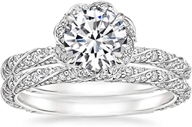 1.7ct Round Cut Solitaire Moissanite Engagement Wedding Ring 925 Sterling Silver