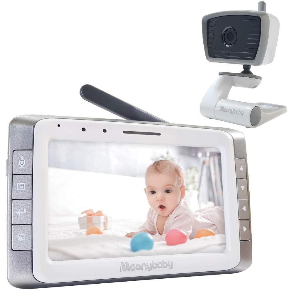 MoonyBaby 5'' LCD Digital Video Baby Monitor with Automatic Night Vision, Temperature Monitoring, Two Way Talkback, Lullabies, Long Range, High Capacity Battery (MANUALLY Rotated Camera)