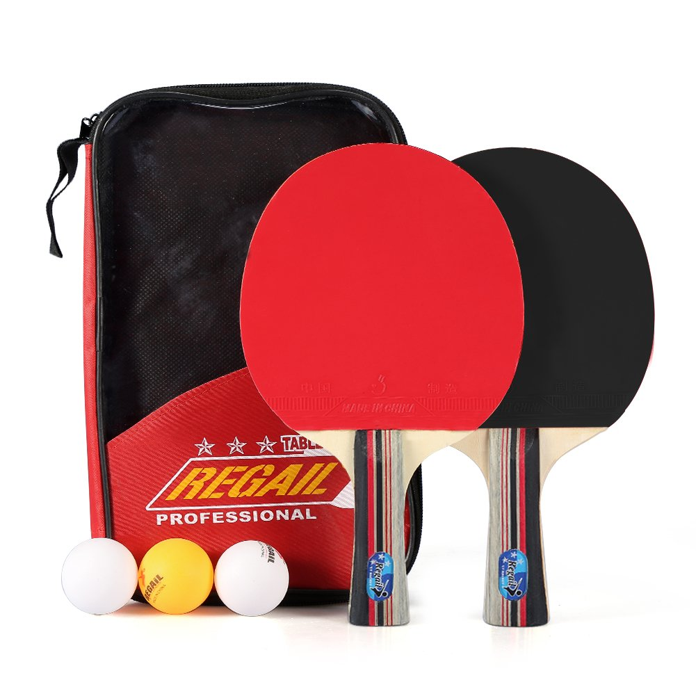 2Pcs Poplar Wood Table Tennis Ping Pong Bats Set With Balls And Racket Case VGEBY