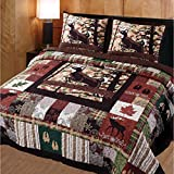 3 Piece Beautiful Red Brown Green White Full Queen Quilt Set, Rustic Cabin Wildlife Plaid Patchwork Themed Bedding Animal Moose Deer Lodge Cottage Nature Forest Trees Leaf Country, Cotton, Polyester