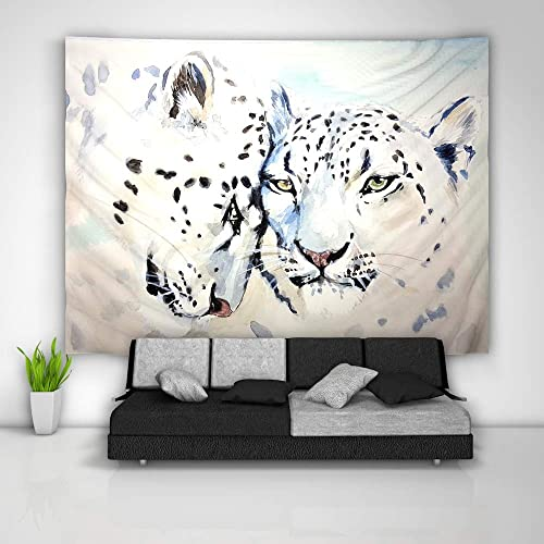 unbrand Snow Leopard Tapestry Art Wall Hanging Sofa Table Bed Cover Mural Beach Blanket Home Dorm Room Decor Gift