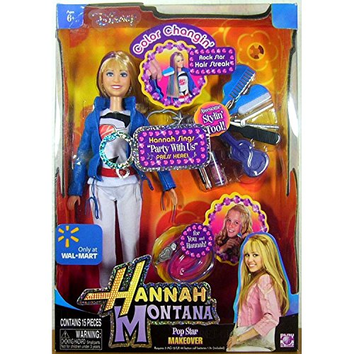 Hannah Montana Year 2008 Disney Series 11 Inch Electronic Doll - POP Star Makeover Hannah with Singing Feature Plus Microphone, Clip-On Stylin' Tool and Color Changing Rock Star Hair Streak