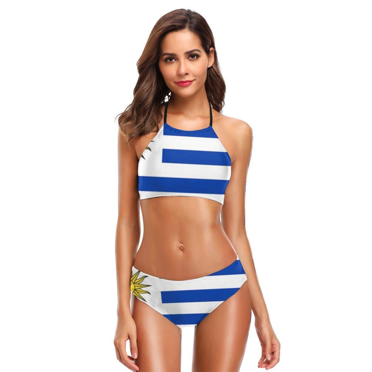 Women's Halter Bikini Set Uruguay Flag Beach Swimsuit Padded Bathing Suit