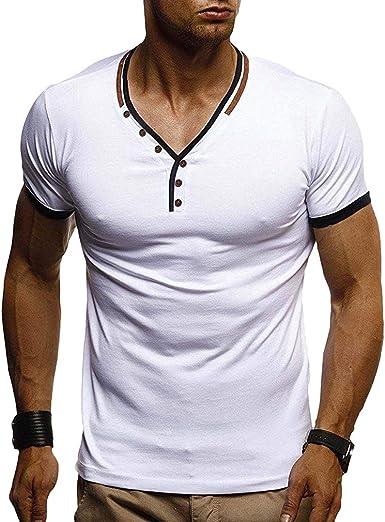 Camisetas Hombre - Slim Fit Stretch Camiseta Manga Corta Cuello V Camiseta Verano Primavera Casual Deportiva Tops Blanco/Azul Marino/Negro M-3XL: Amazon.es: Ropa y accesorios