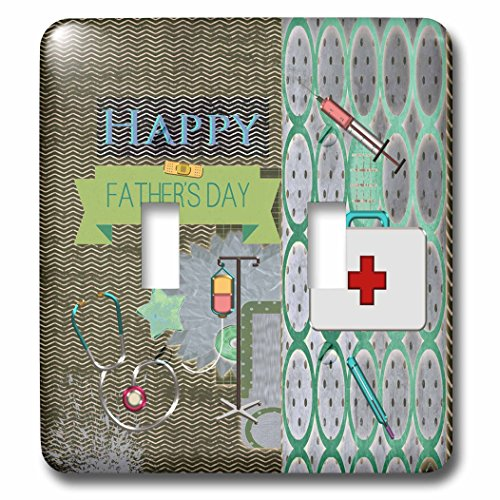 Beverly Turner Fathers Day Design - Medical Theme Fathers Day, Abstract, Stethoscope, Thermometer - Light Switch Covers - double toggle switch (lsp_239539_2) by 3dRose
