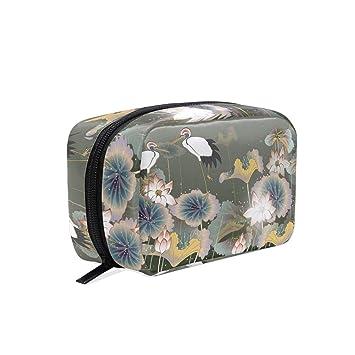 dbe3940a48cc Amazon.com : MAPOLO Retro Crane Bright Lotus Handy Cosmetic Pouch ...