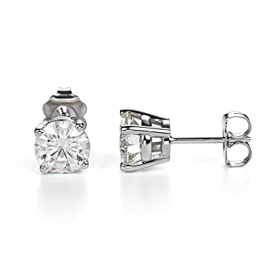 af4fbef1e Forever One Round Cut Moissanite 14K White Gold Stud Earrings (G-H-I) by  Charles & Colvard