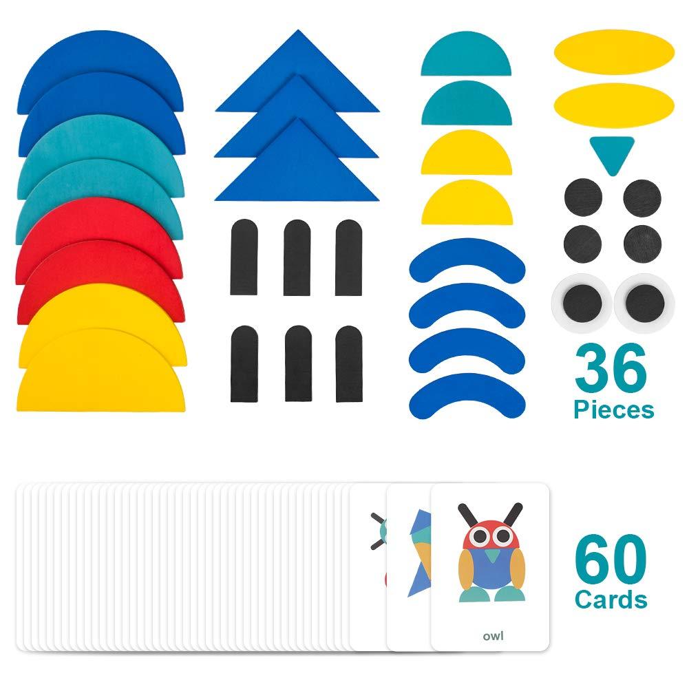 60 PCS Dise/ño Tarjetas para Bloques de Patrones de Madera Animales Puzzles Juegos de Clasificaci/ón y Apilamiento para Ni/ños 2 a/ños + 36 Tangram Puzzle de Madera Montessori StillCool Tangram Puzzle