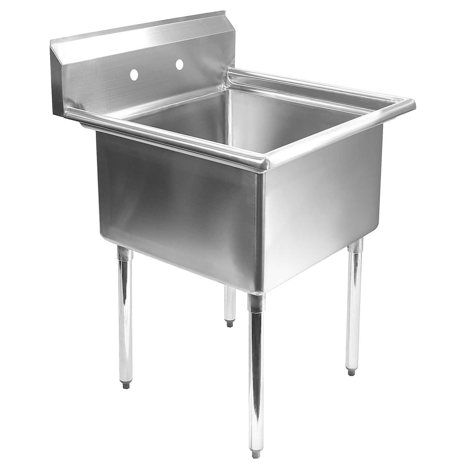 Commercial Stainless Steel Kitchen Utility Sink - 24'' X 24'' Bowl - 30'' Overall