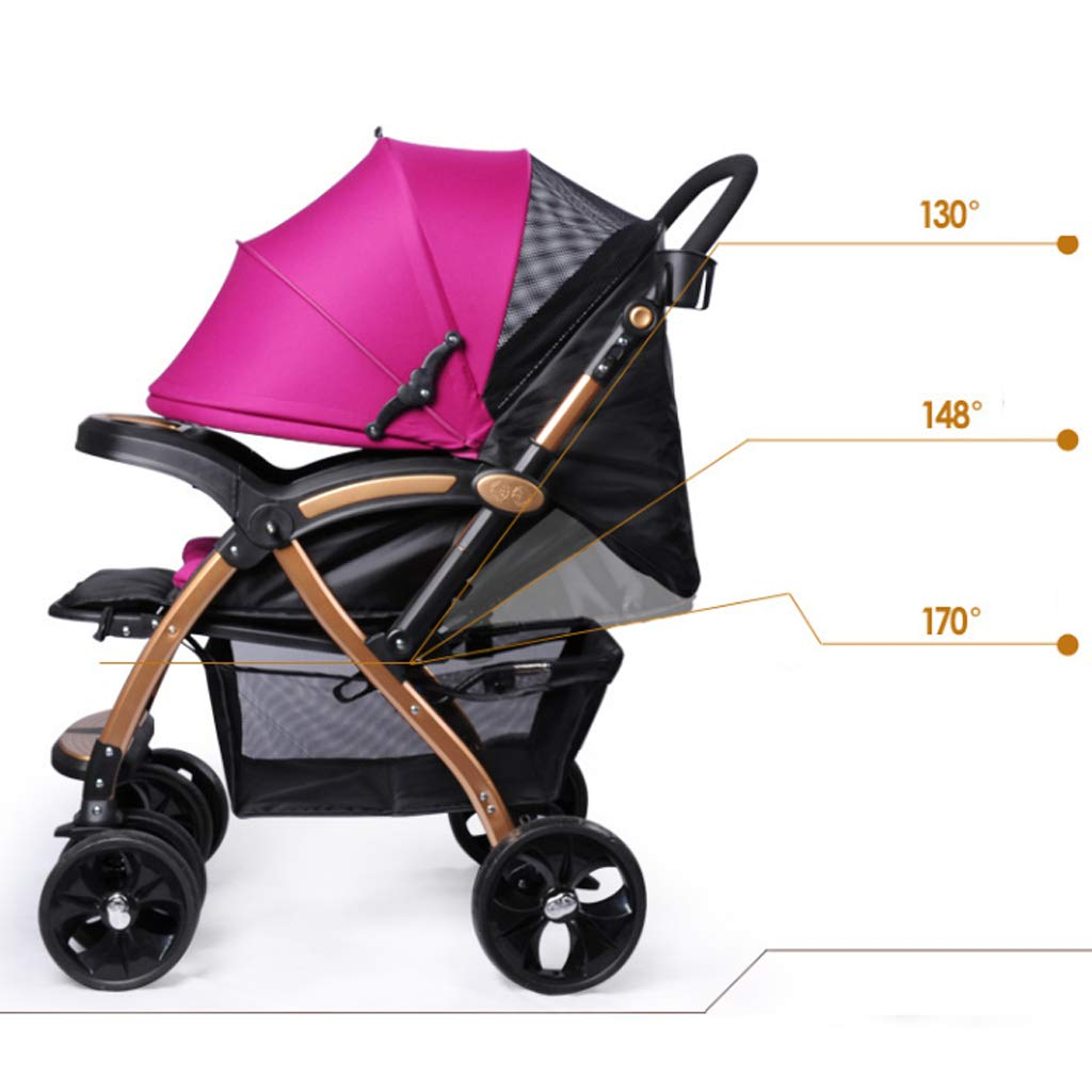Strollers Baby Stroller High Landscape Baby Trolley Car Wheelchair Baby Stroller Portable Folding Pram Dinner Plate Armrest Bottom Basket Baby Carriage (Color : A) by Xxw Strollers (Image #4)