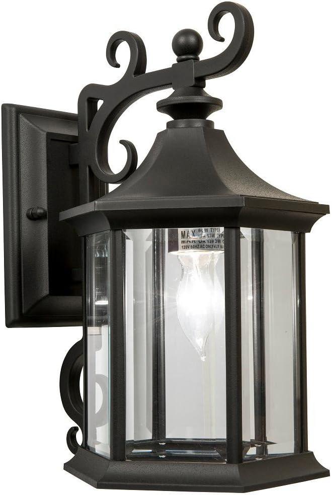Newport Crest 7787-07B 1-Light Black Outdoor Wall Lantern