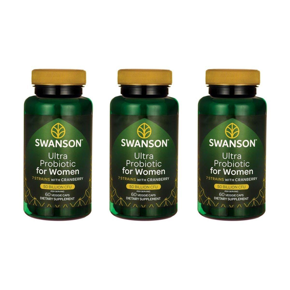 Swanson Ultra Probiotic for Women 25 Billion Cfu 60 Veg Caps 3 Pack