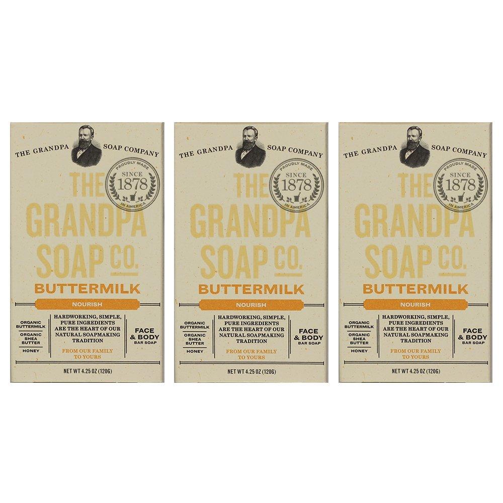 Grandpa's Soap Co. - Face & Body Bar Soap Buttermilk (Pack of 3)