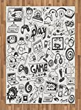 Video Games Area Rug by Ambesonne, Monochrome Sketch Style Gaming Design Racing Monitor Device Gadget Teen 90's, Flat Woven Accent Rug for Living Room Bedroom Dining Room, 5.2 x 7.5 FT, Black White