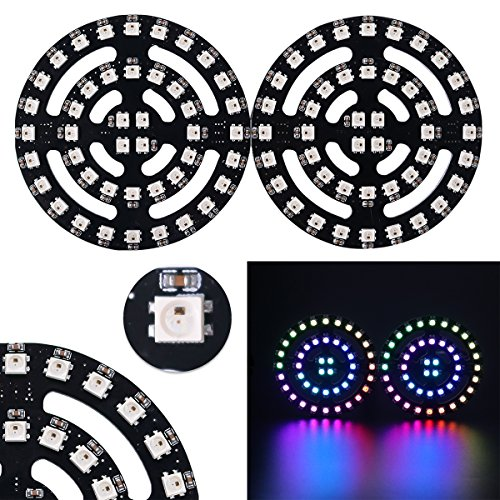 Mokungit WS2812B WS2812 3535 RGB LED Ring Glasses Dream Color Lamp Light with Integrated Drivers Light Up Costumes for DJ Party(2 Pack)