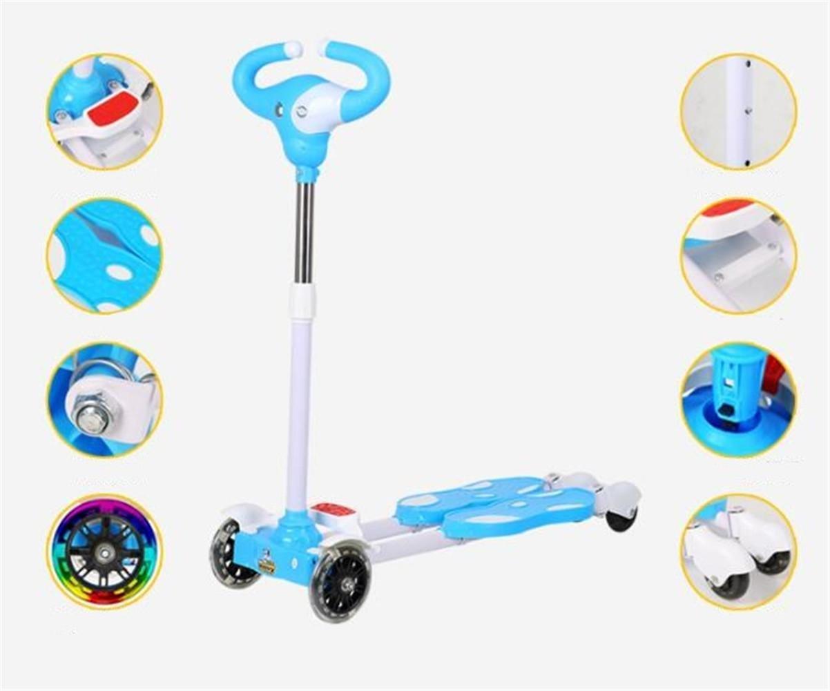 SQCOOL Pedal Scooter para Niños con Rueda Deslice Cuatro Ruedas Slide 3-12 Años Columpio Kids Cartoon Scissor , D