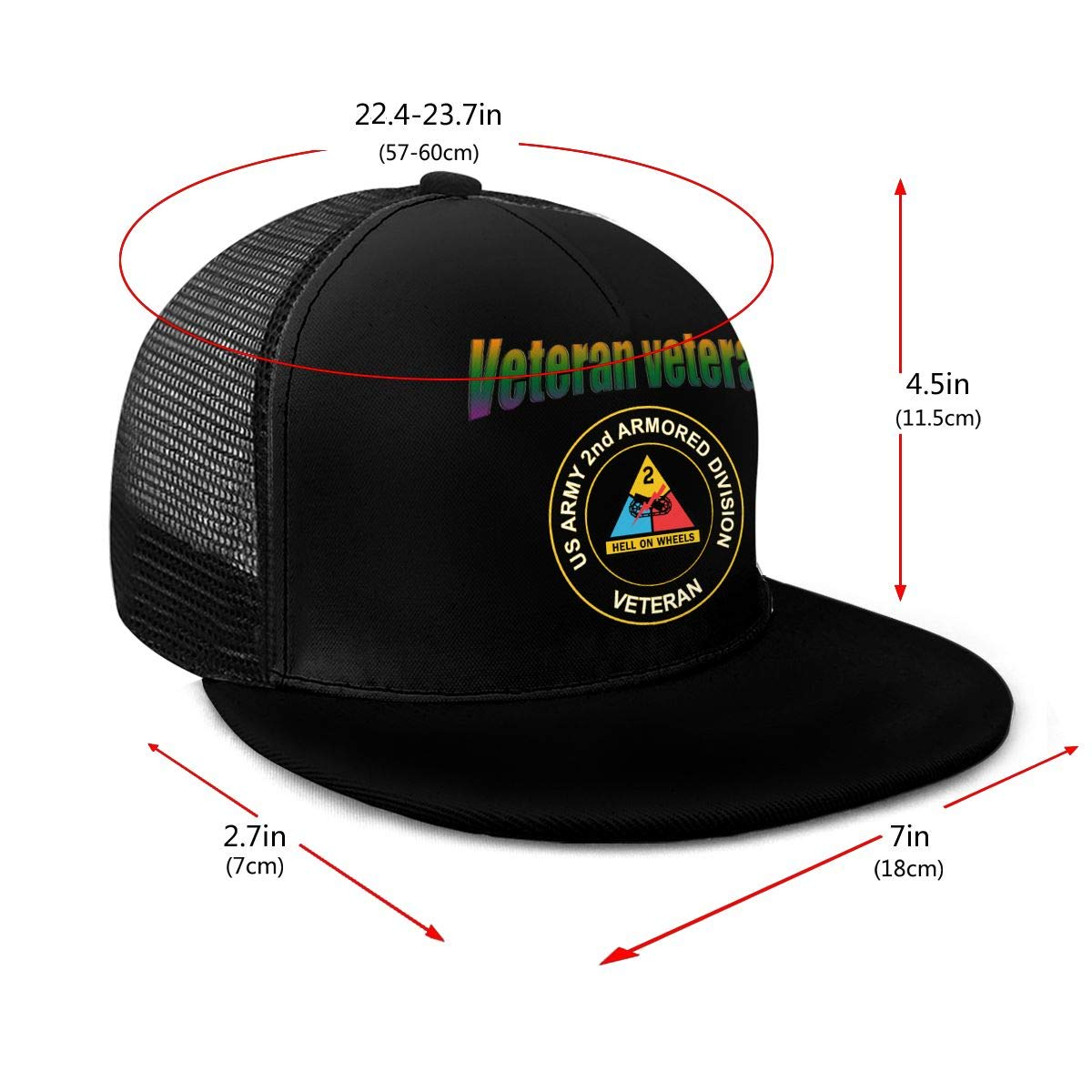 Army 2nd Armored Division Classic Grid Caps Flat Along Baseball Hats Snapback Men Women Cap Adjustable