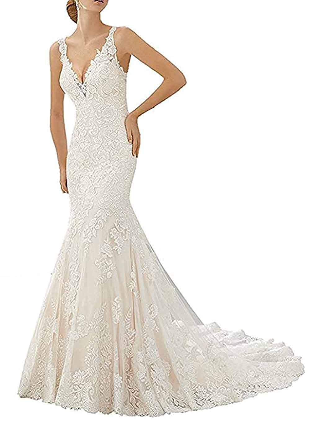 Ri Yun Womens Lace V Neck Mermaid Wedding Dresses Bridal Gown