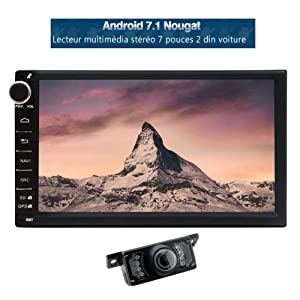 Eincar Latest Model 7 inch Double din GPS Navigation Android 7.1 Octa Core 2G+32G in Dash Stereo Support Wifi 4G/3G OBD BT USB/SD+Backup Camera.