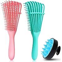 Detangling Brush Set, Detangler Brush Hair Scalp Massager Shampoo Brush Scalp Care Brush for Hair Textured 3a to 4c…