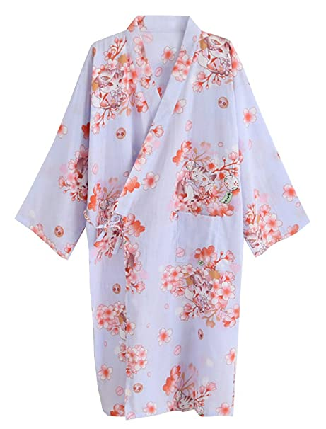 Amazon.com: echery Mujer Verano Algodón Kimono Albornoces ...