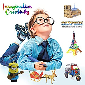 Professional 3D Pen for Kids & Adults, with Adjustable Low-Temperature Safety Mode. 3D Doodle Drawing Printers Compatible with 1.75¡À0.02mm PLA/PCL Filaments- Blue by SanMoz
