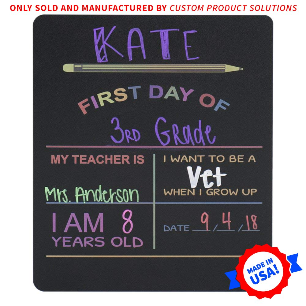"Custom Product Solutions Reusable My First Day of School Milestone Chalkboard Sign. Photo Prop Board for Kids, Black w/color print - 12"" x 10"" rectangle by Custom Product Solutions"