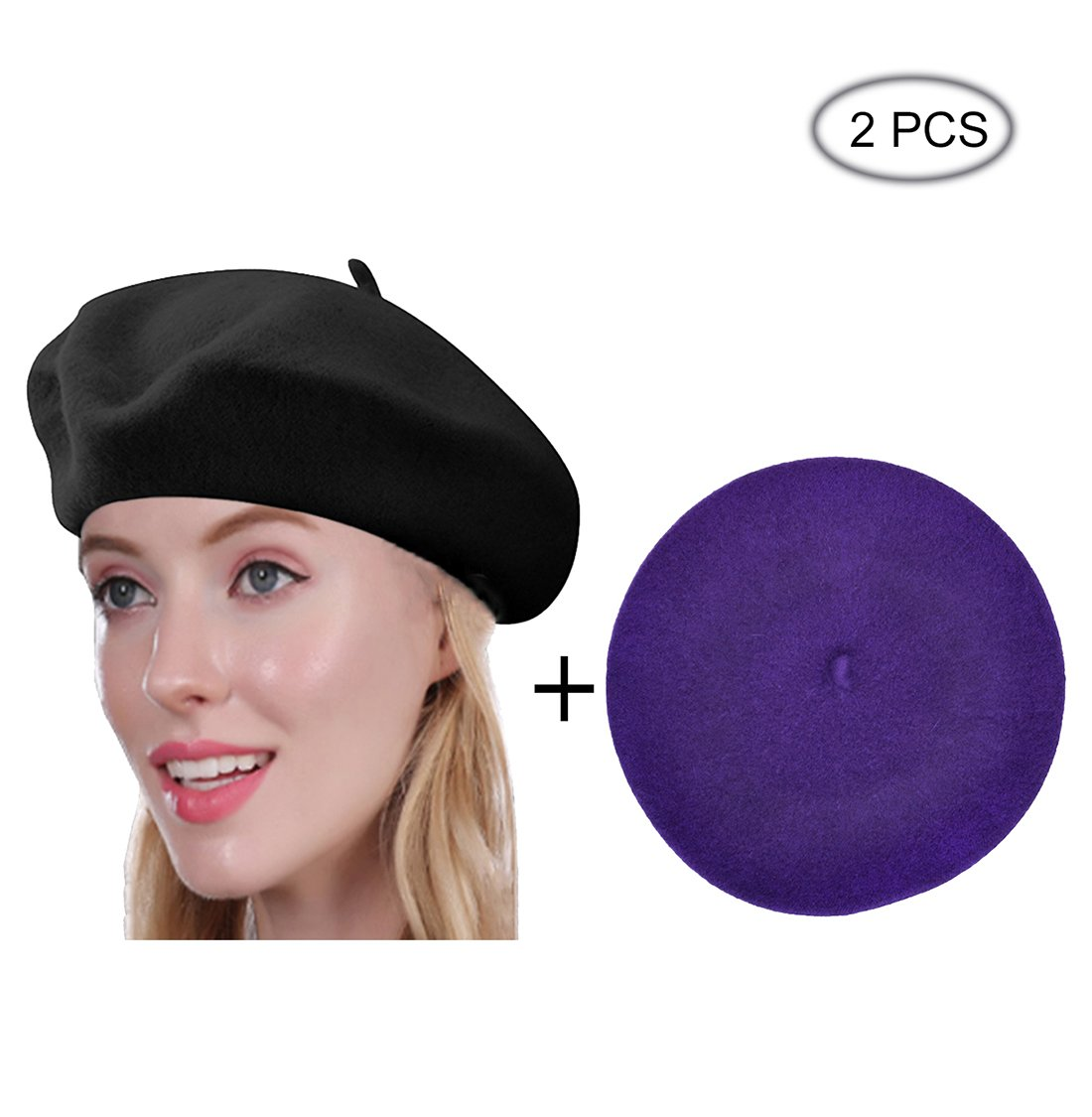 Raylarnia Beret Hat of French Vintage Style, Solid Color Hat 15colors, Elegant Soft Stretch Wool Cap, Lightweight Classic Boinas Winter Beanie-Black/Purple