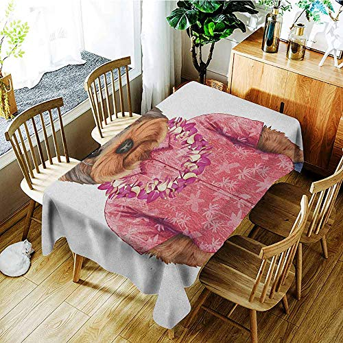 XXANS Tablecloth,Yorkie,Portrait of a Dog in Humanoid Form with a Pink Shirt with Hawaian Lei Fun Image,Dinner Picnic Table Cloth Home Decoration,W50x80L -