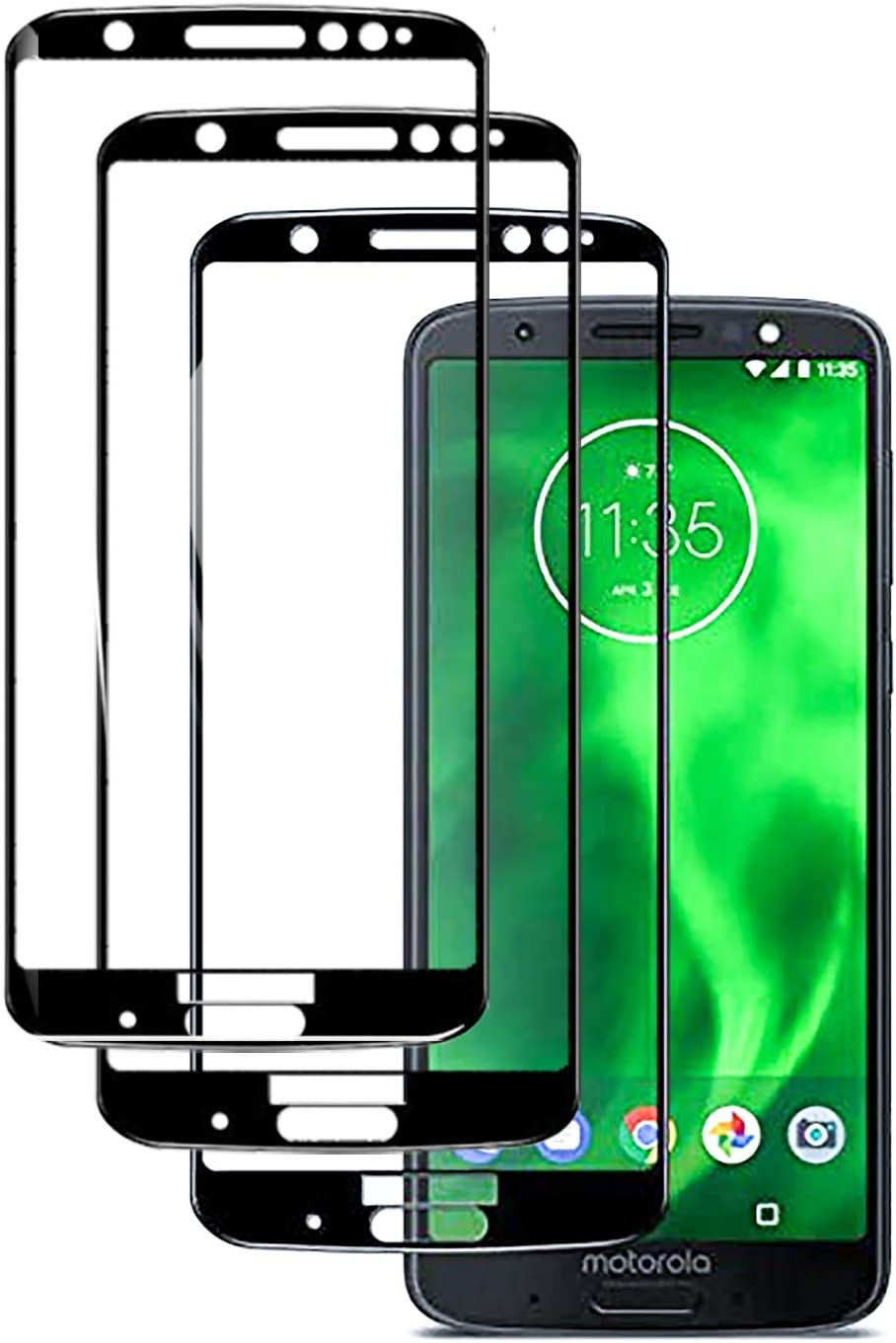 3 Pack G6 Plus Screen Protector Compatible with Motorola Moto G 6 Plus Tempered Glass 9H Full Cover Scratch Resist moto6 6gplus 6plus Film -5.9 inch 2018