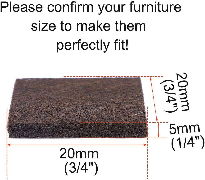 sourcing map Feltro mobili piazzole piedi quadrati 3//4 piedini autoadesivi protettore pavimento 36pz