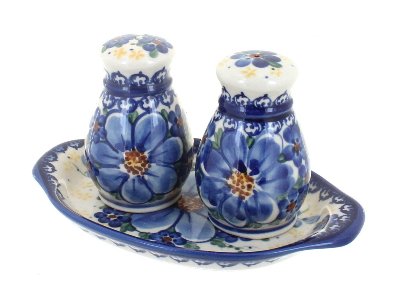 Polish Pottery Daisy Surprise Salt & Pepper Shakers with Tray by Blue Rose Pottery