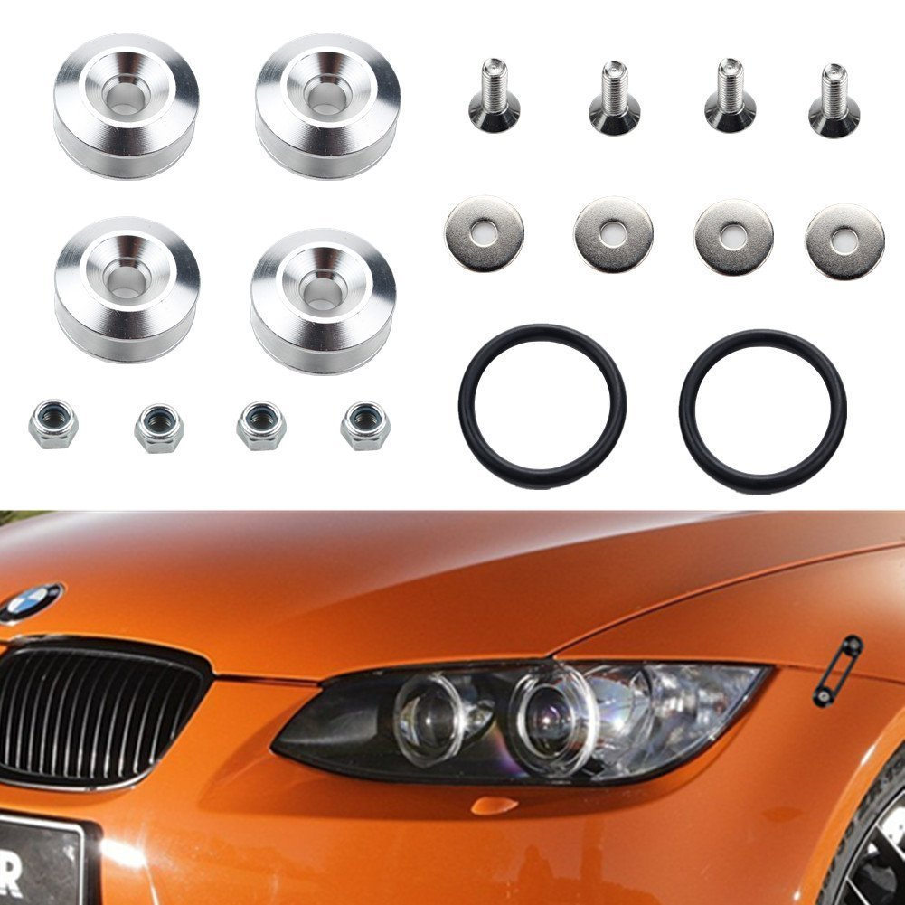 Silver Dewhel Universal JDM Quick Release Fasteners For Car Bumpers Trunk Fender Hatch Lids Kit