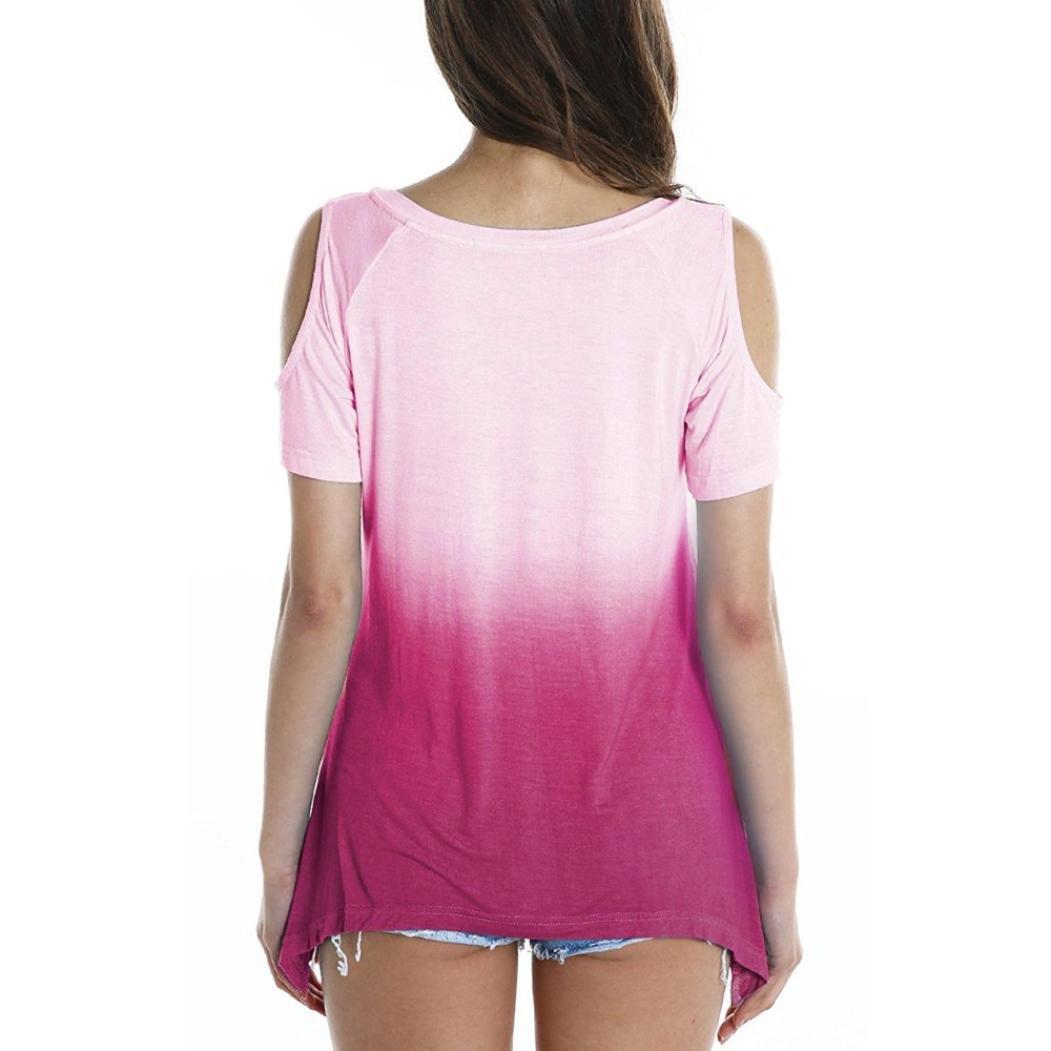 ❤ Camisa Color Degradado Mujeres, Las Mujeres de Manga Corta Slim Off Shoulder Buttons Blusa Tops: Amazon.es: Ropa y accesorios