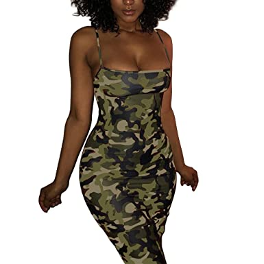 Review VANCOL Women's Sexy Spaghetti Strap Printed Camouflage Bodycon Club Evening Party Cocktail Short Mini Dress Plus Size